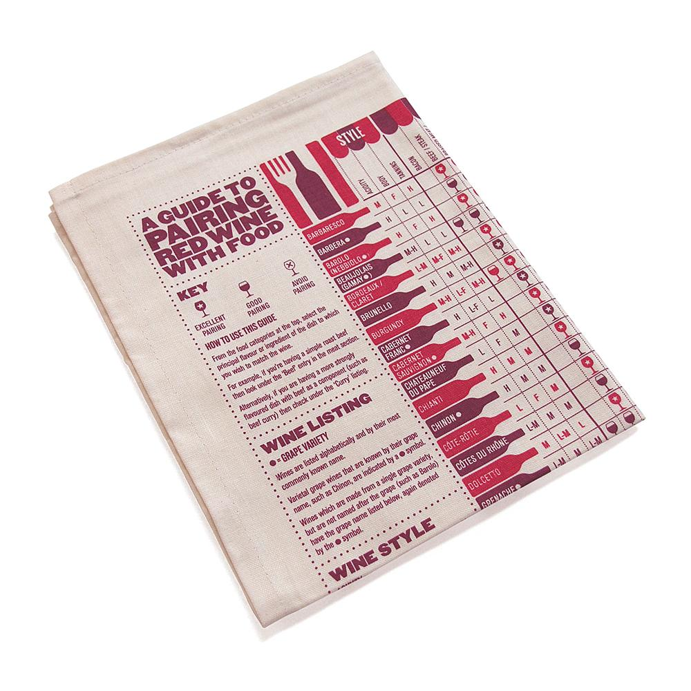 Red Wine Pairing Guide Tea Towel - HOWKAPOW