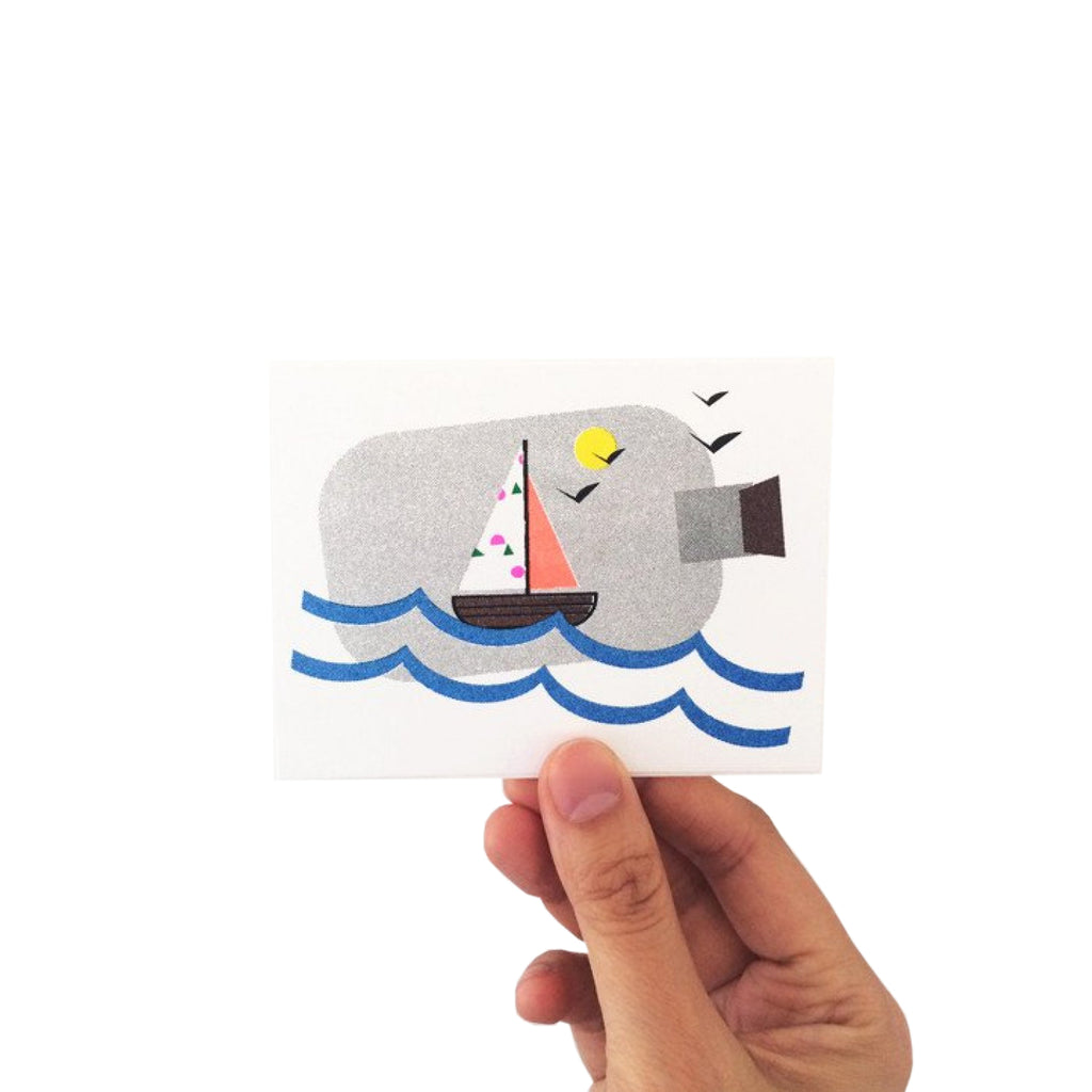 Sailboat In A Bottle Mini Card - HOWKAPOW