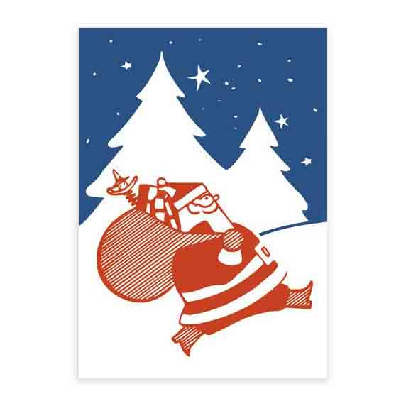 Father Christmas Set Of 6 Letterpress Christmas Cards