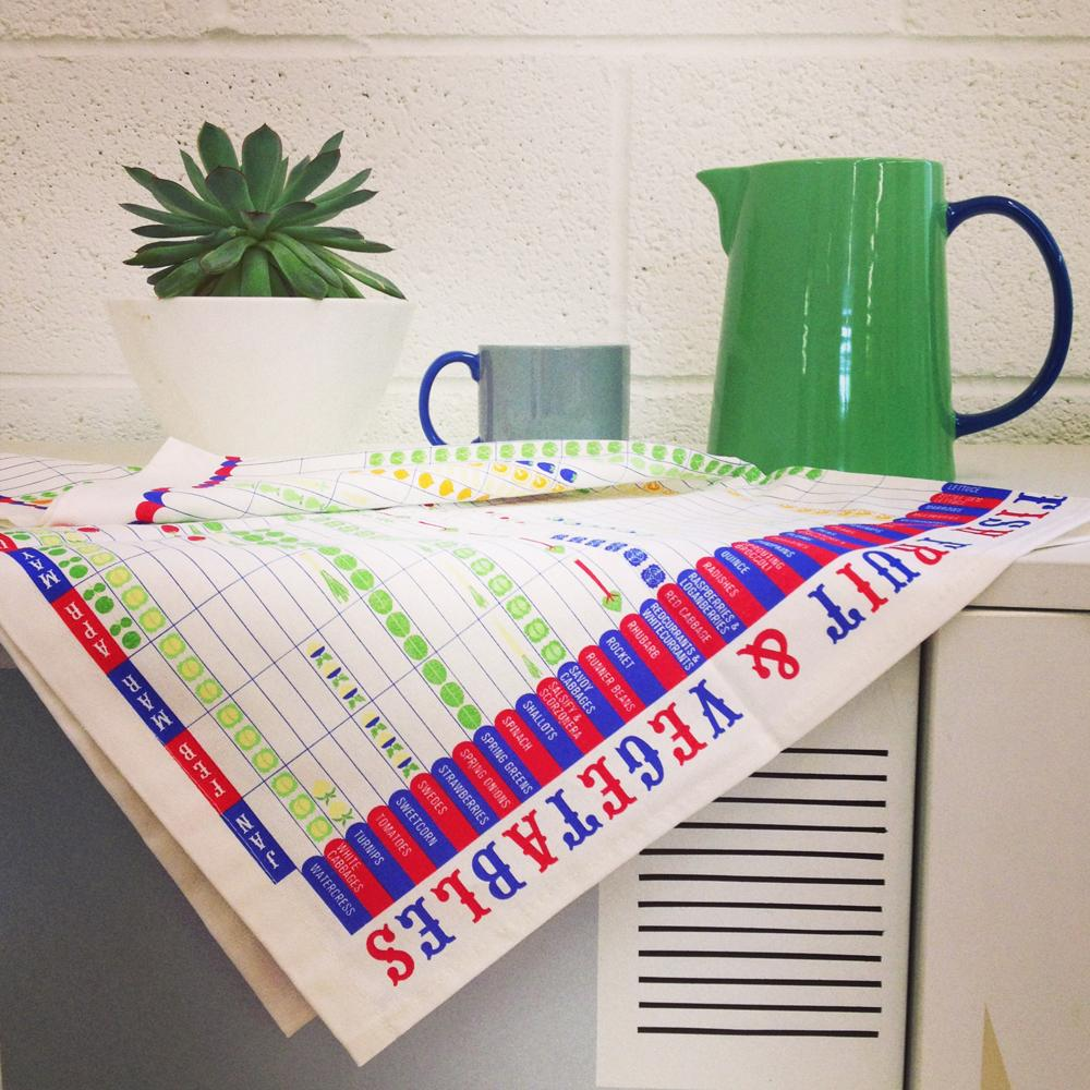 Seasonal Fruit & Vegetable Tea Towel - HOWKAPOW
