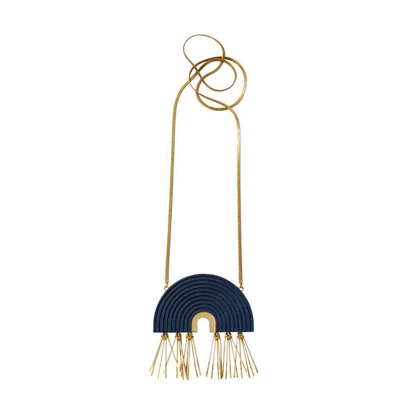 Tassel Arch Necklace from Wolf and Moon in Midnight Blue - HOWKAPOW