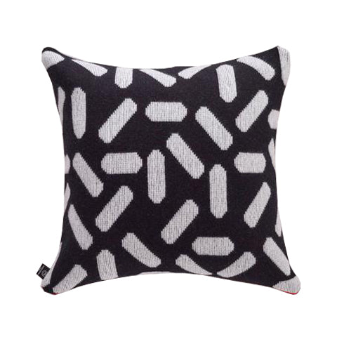 Tic-Tac Cushion in Black and White with Red Zip - HOWKAPOW