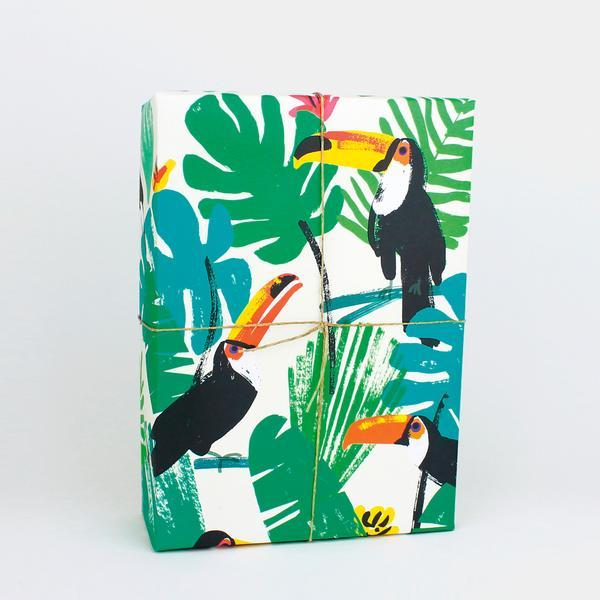 Toucans Leaves Gift Wrap - HOWKAPOW