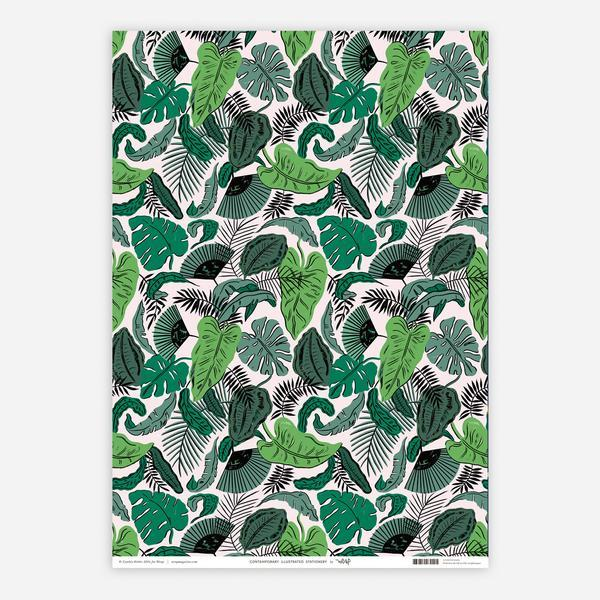 Tropical Leaves Gift Wrap - HOWKAPOW