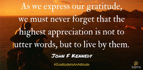 JFK quote on expressing gratitude