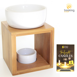 Bamboo & White Ceramic Tea Light Oil Burner