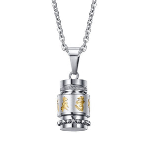 Tibetan Prayer Wheel Necklace in Stainless Steel