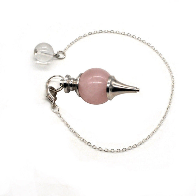 Rose Quartz Crystal Pendulum Dowsing Pendulum or Pendant
