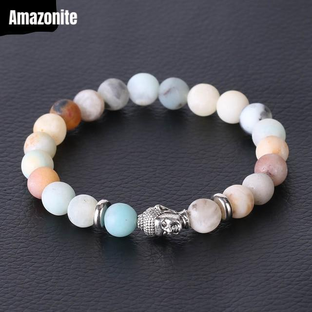 Amazonite Crystal Bead Buddha Head Bracelet