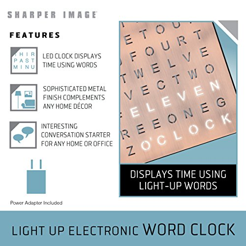Light Up Electronic Word Clock Copper Finish With Led Light