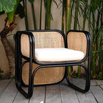 Rattan Lounge Chair_Black:Ocean luxe