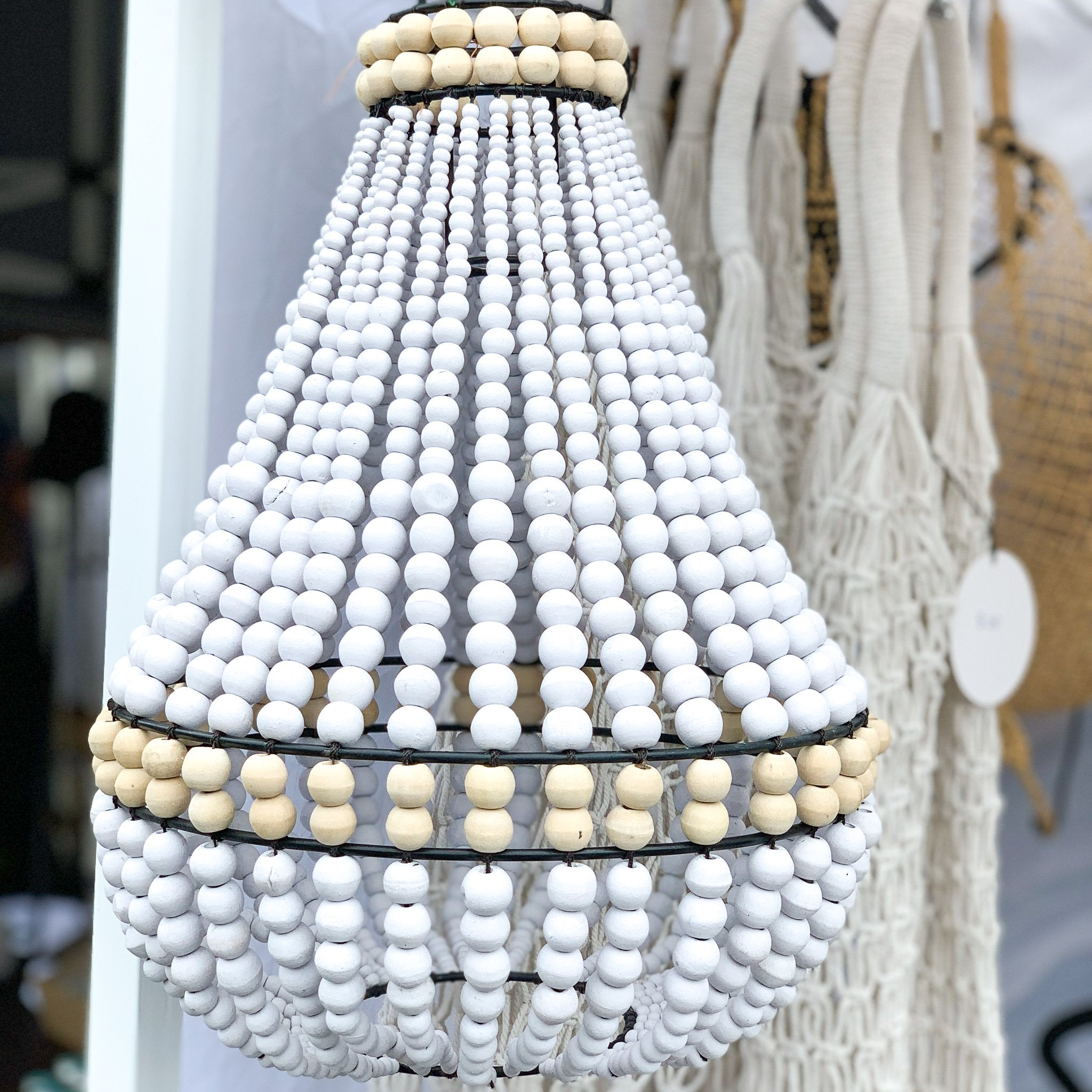 Ocean Luxe:White and Natural Beaded Chandelier