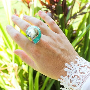 Ocean Luxe:Turquoise Nautilus Shell Ring