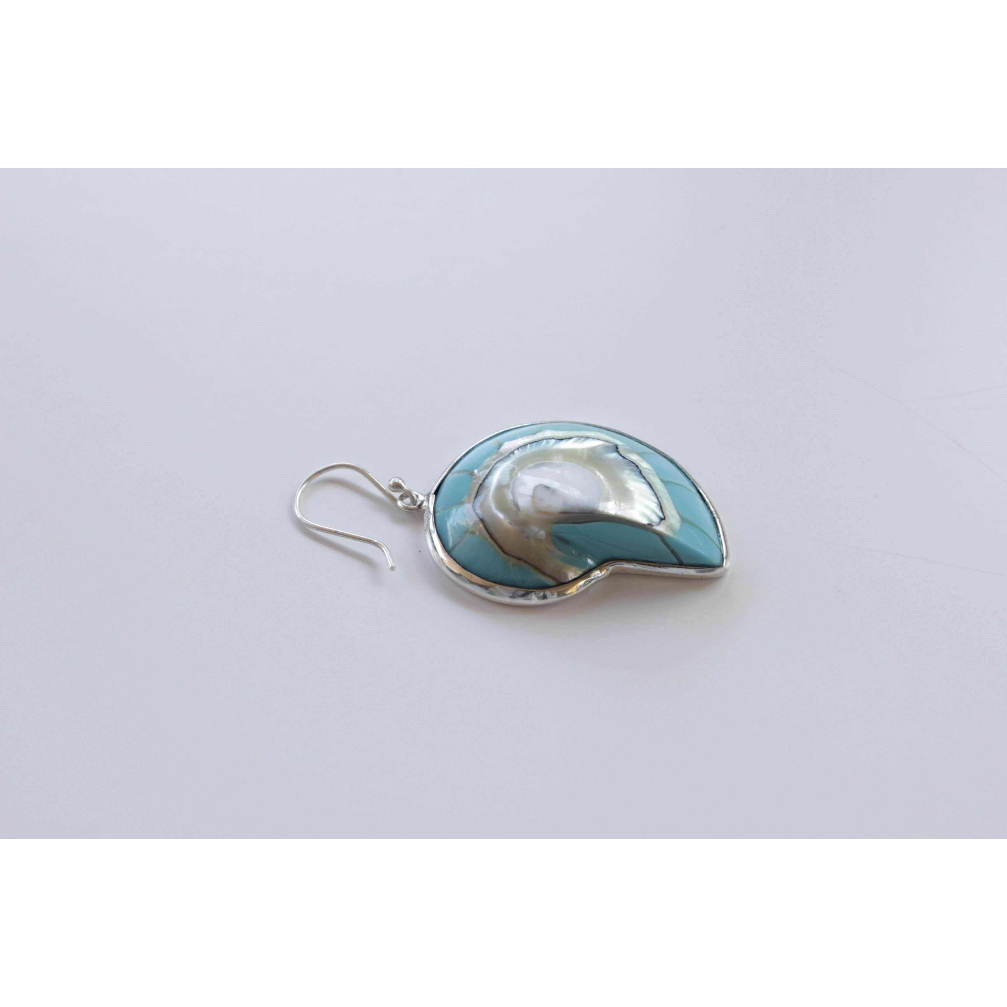 Ocean Luxe:Blue Nautilus Shell Earrings side view