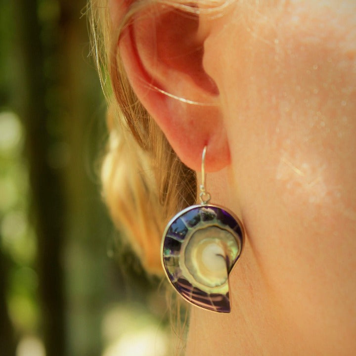 Ocean Luxe:Deep Purple Nautilus Earrings