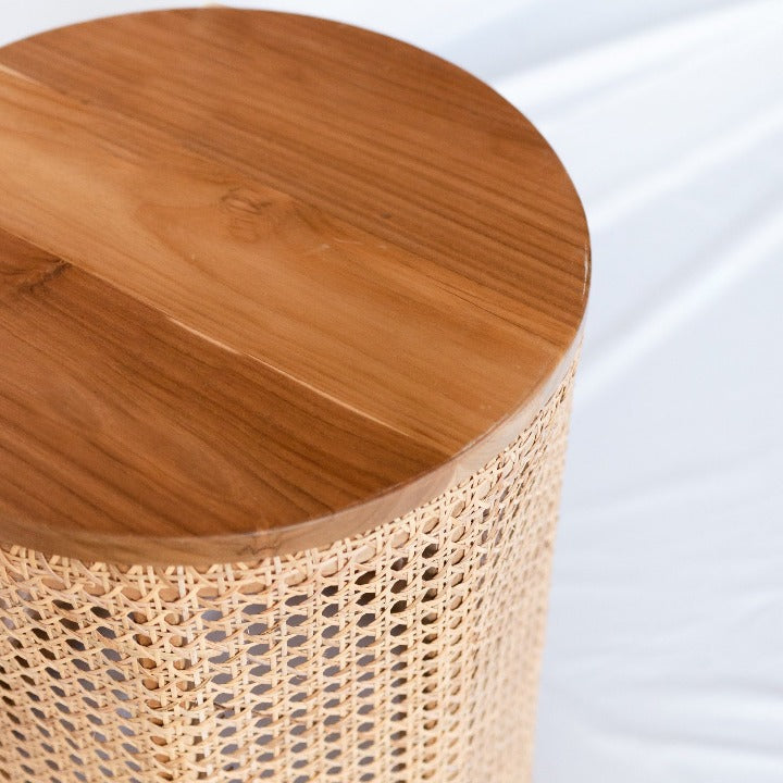 teak rattan side table: Ocean Luxe