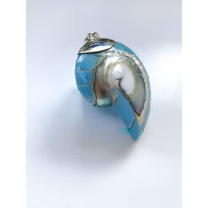 Ocean Luxe:Blue Nautilus Pendant Necklace