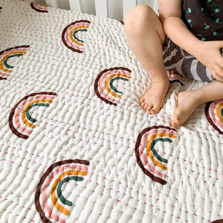 Pre Order - Baby Rainbow Cot Quilt