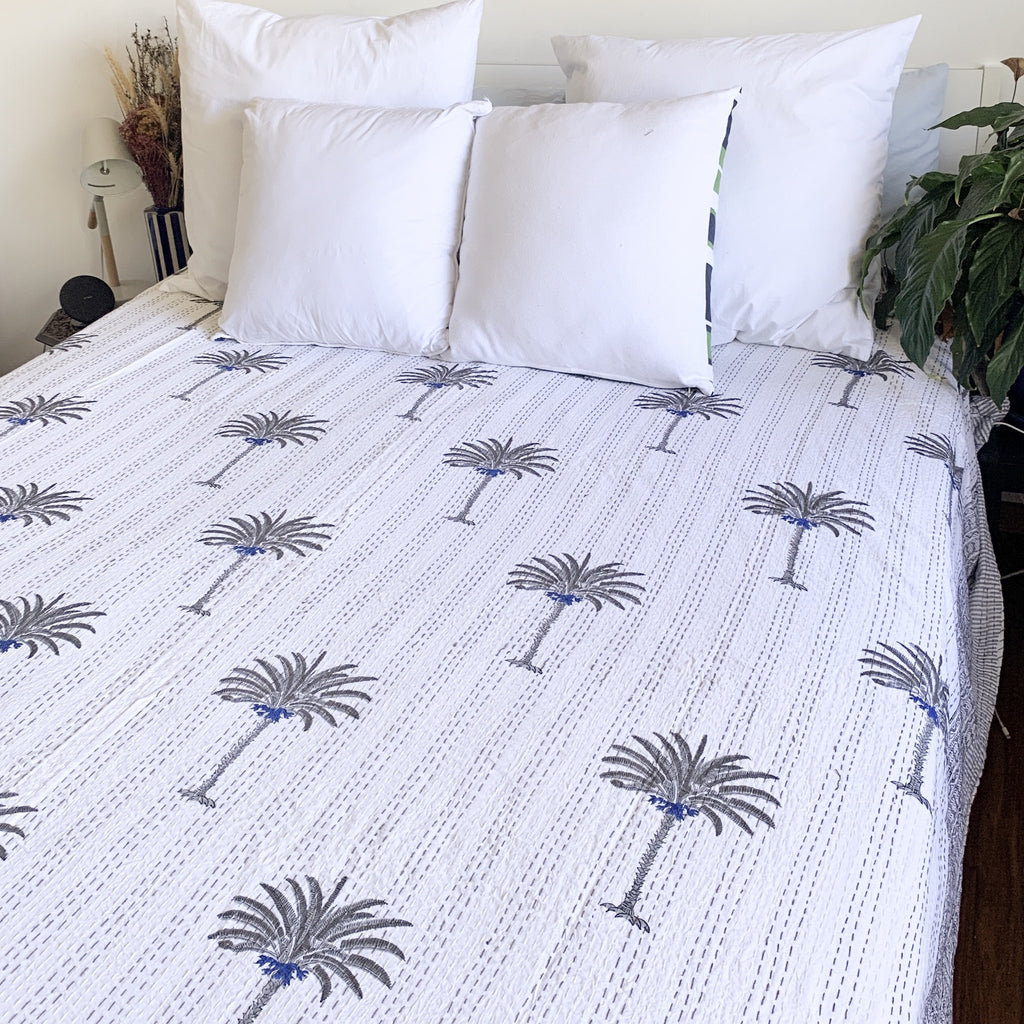 Blue and Grey Palm Quilt:Ocean Luxe