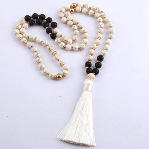 Ocean Luxe:White Stone and Tassel Necklace