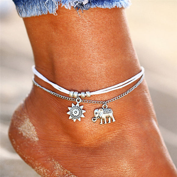 IF ME Vintage Multiple Layers Anklets for Women Elephant Sun Pendant Charms Rope Chain Beach Summer Foot Ankle Bracelet Jewelry - B A W