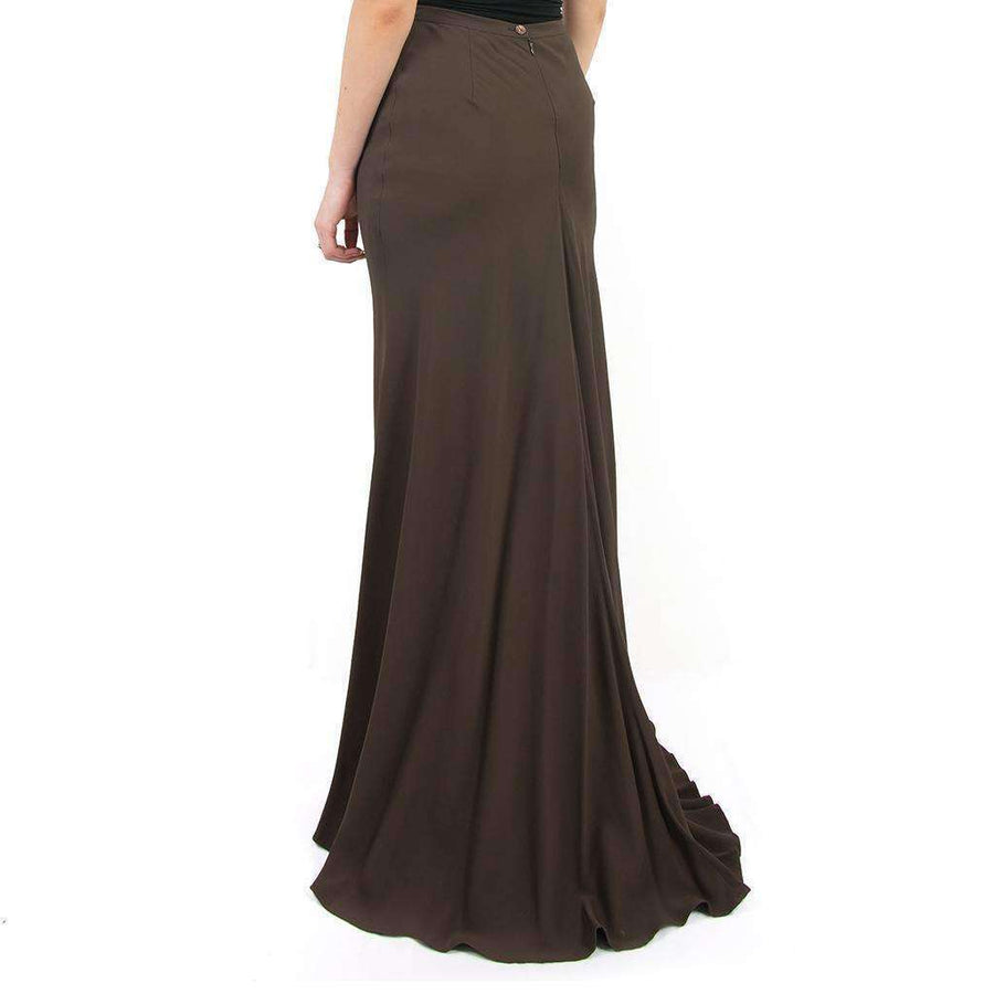 Brown Crepe Maxi Skirt