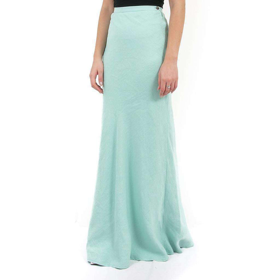 Blue-Green Linen Maxi Skirt