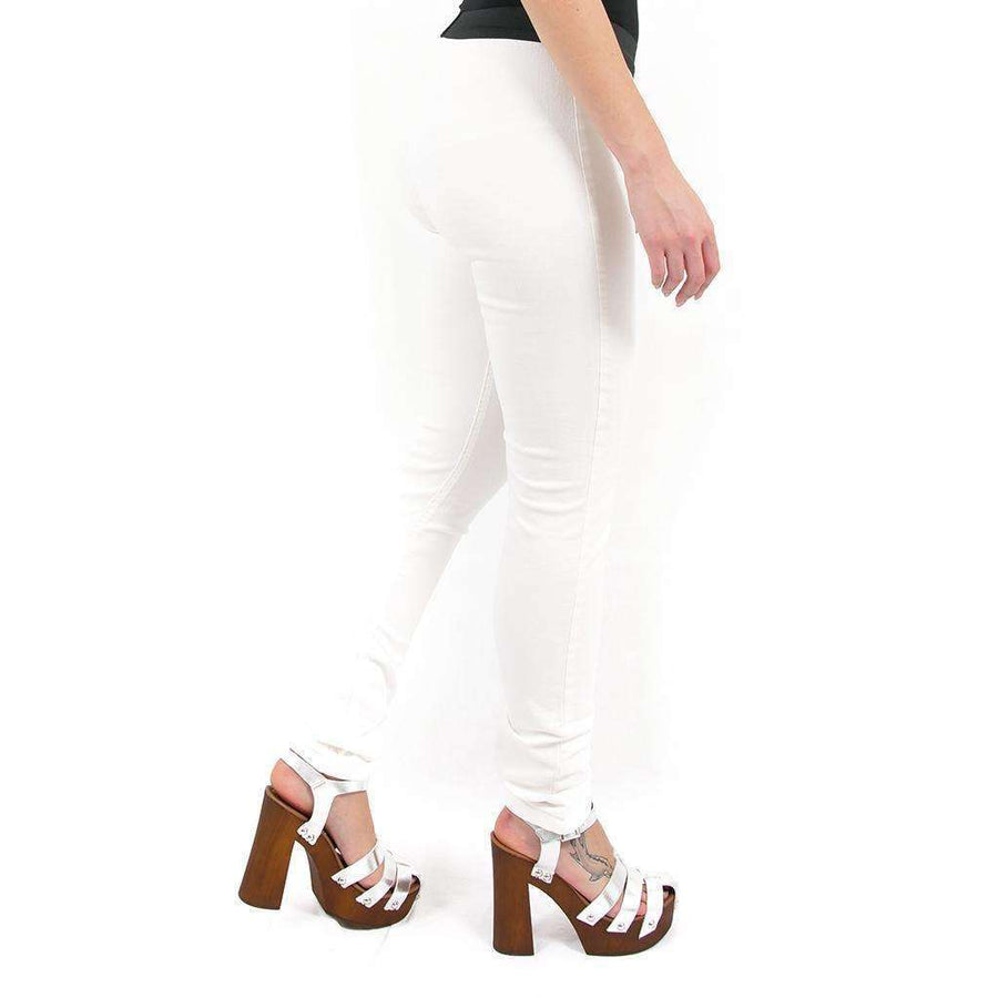 White Mid Rise Trousers