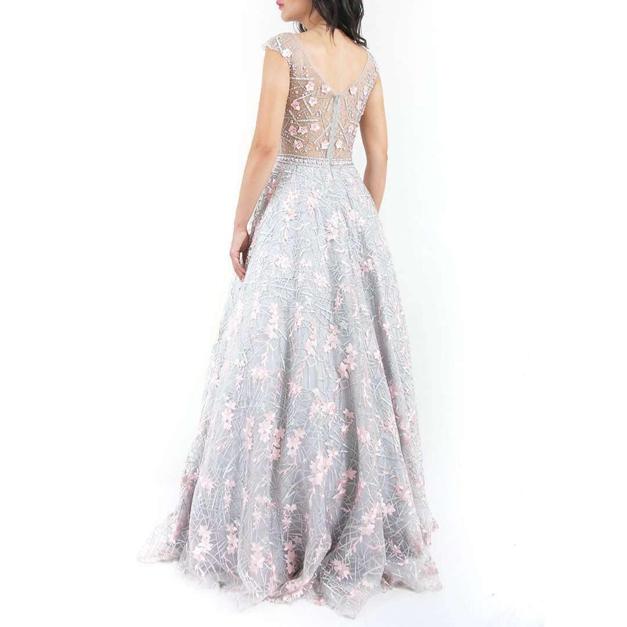 Floral Appliques Evening Dress