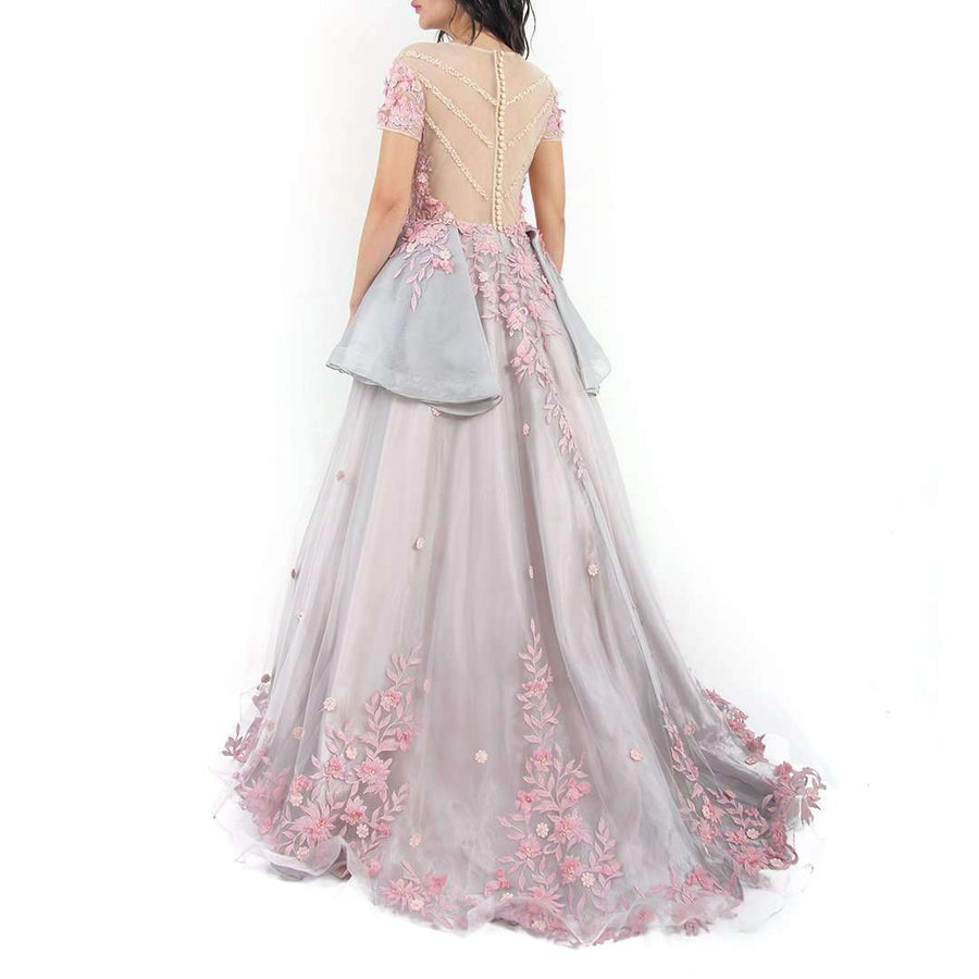 Floral Appliques Organza Evening Dress