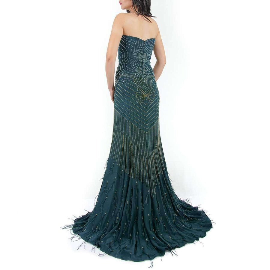 Beaded Silk-Chiffon Evening Dress
