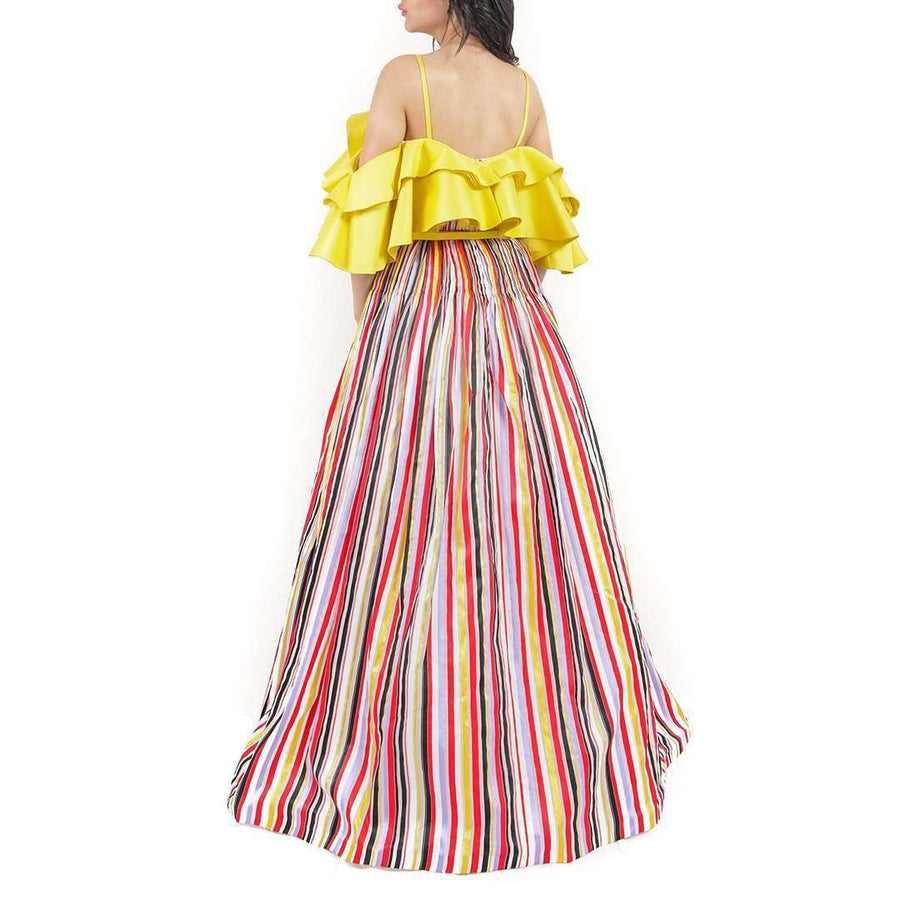 Striped Organza Evening Dress