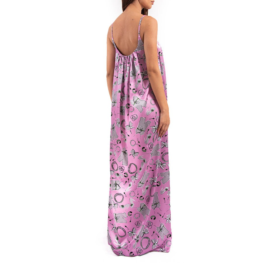 Pink sleeveless maxi cami dress