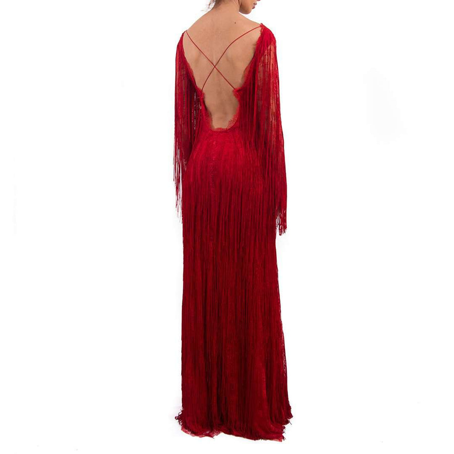 Alberta Ferretti Fringe Dress