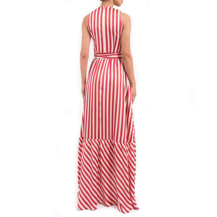 Striped Plunge Maxi Dress