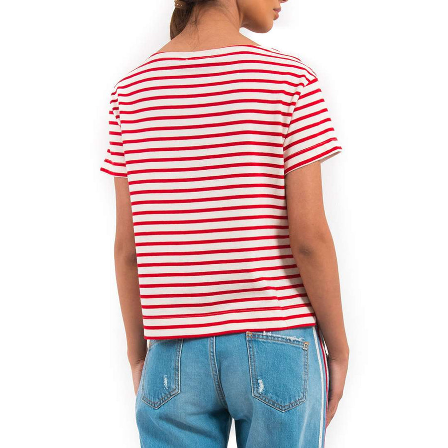 Lace Hem Striped T-shirt