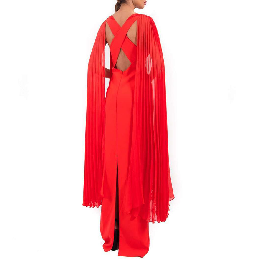 Cape Sleeve Embellished Gown