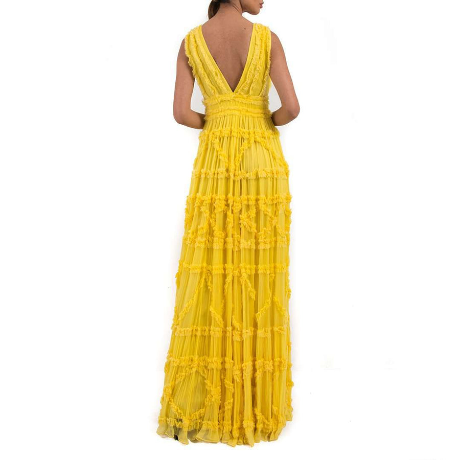 Just Cavalli Yellow Ruffle Maxi Dress