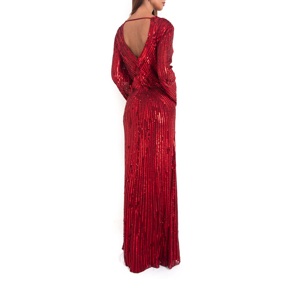 Jenny Packham Red long sleeve sequin gown