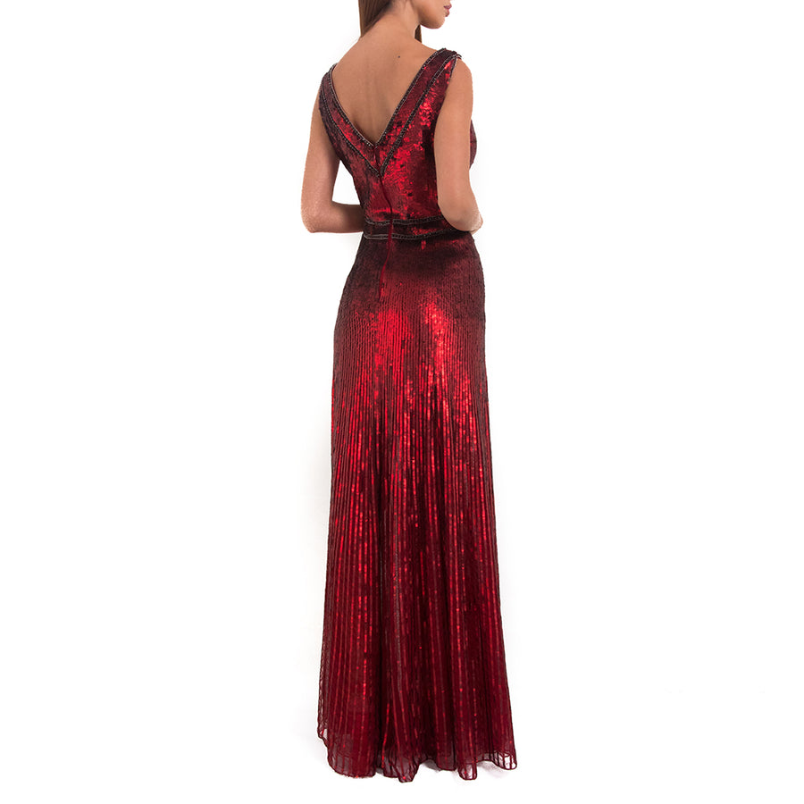 Jenny Packham Scarlet Red sleeveless sequin gown UAE dubai