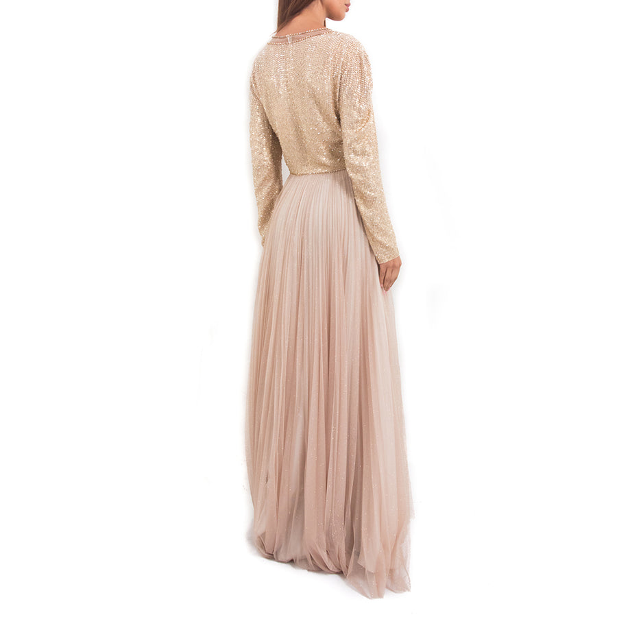 Jenny Packham Embellished Pleated Tulle Gown