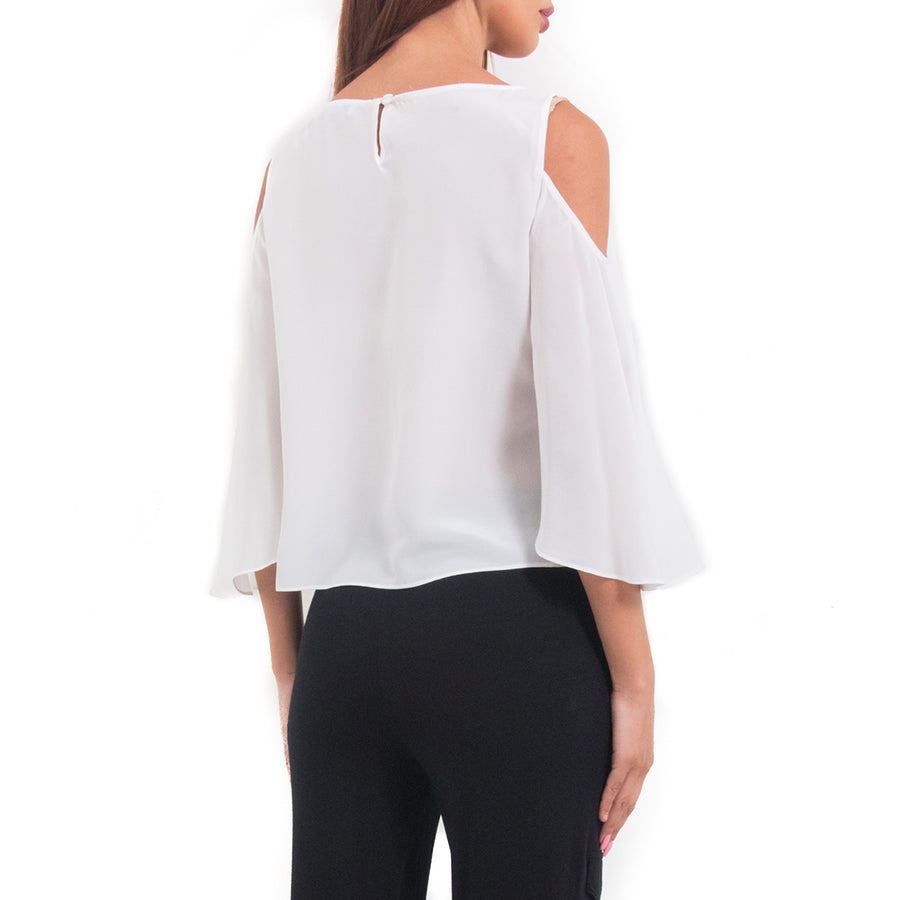 Flared sleeve cold shoulder Blouse