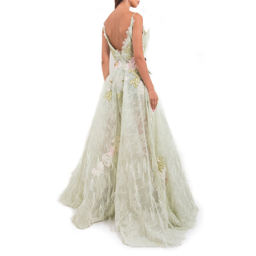 Feather Applique Lace Gown