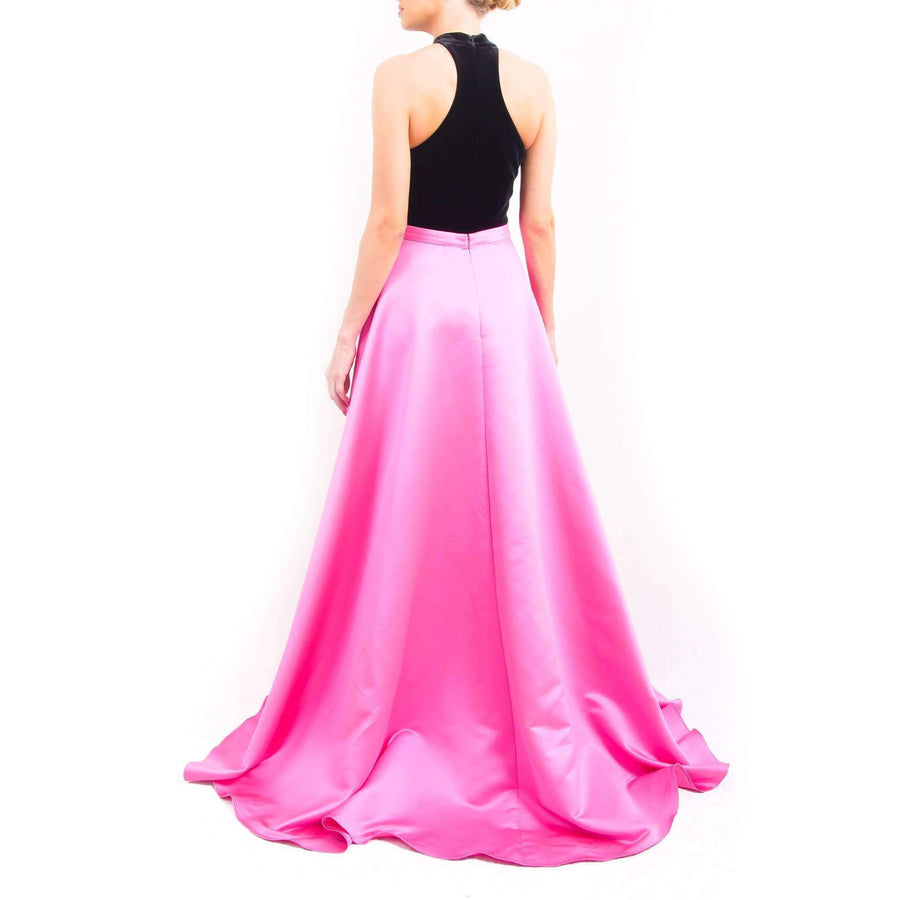Velvet Dress with a Pink Satin Over Skirt