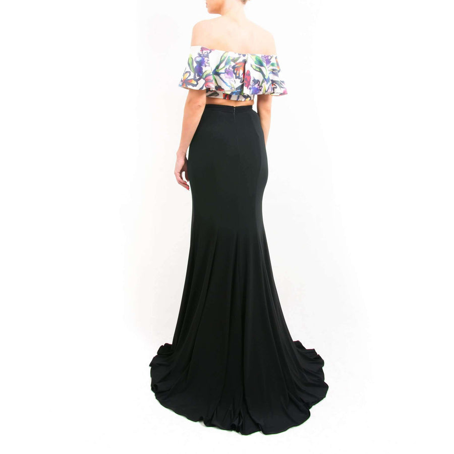 Floral Print Crop Top and Full Length Skirt
