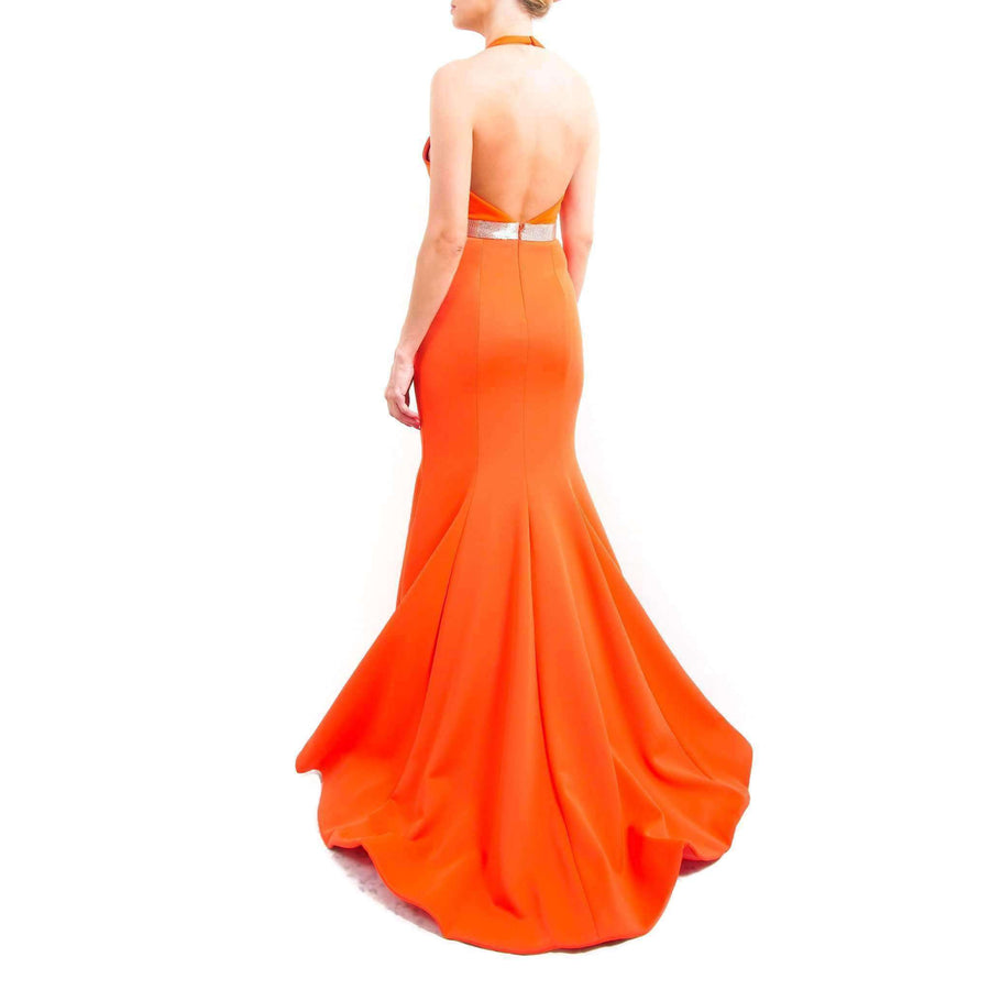 Orange Halter Neck Prom Dress