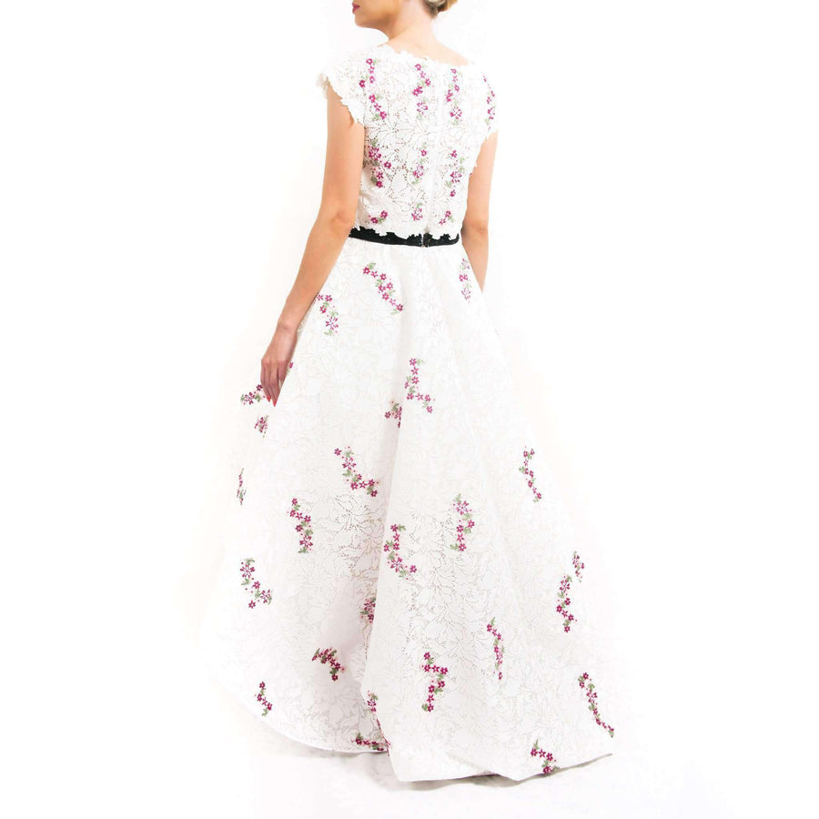 White Floral Embroidery Evening Dress