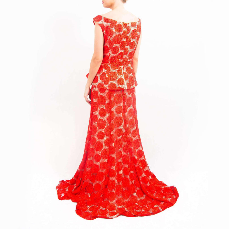 Rose Embroidery Evening Dress