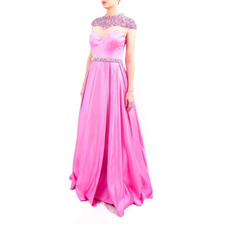Sheer Top A-line Prom Dress