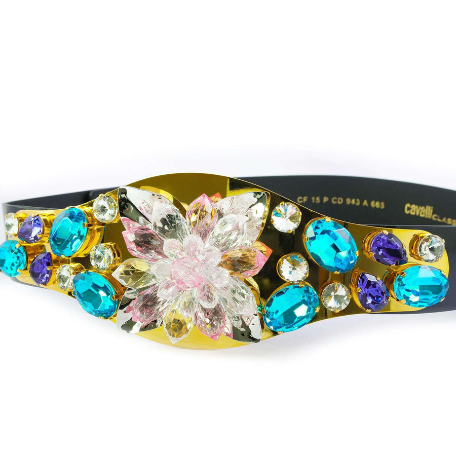 Multi-Colored Crystal Leather Belt